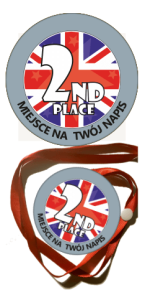 "Medal na tasiemce:  ""Second place"" + nadruk"