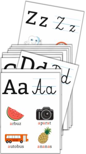 Plansze Edukacyjne Alfabet Literki Pisane I Drukowane Zestaw 24 Kart A4