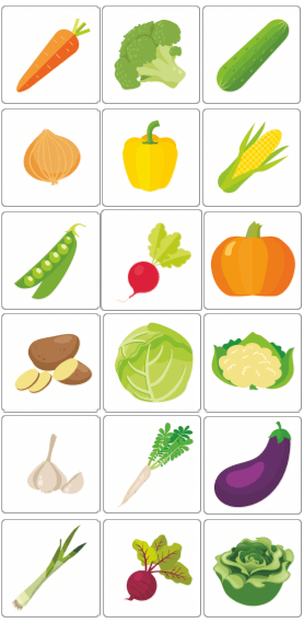 karty obrazkowe flashcards warzywa vegetables