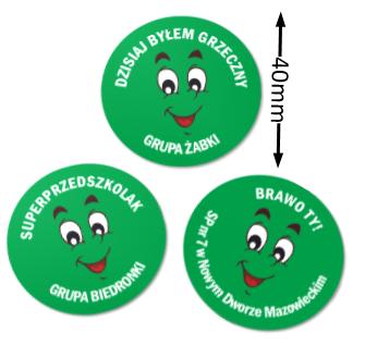 naklejki uśmiechy buźki zielone
