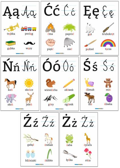 plansze edukacyjne alfabet polskie znaki
